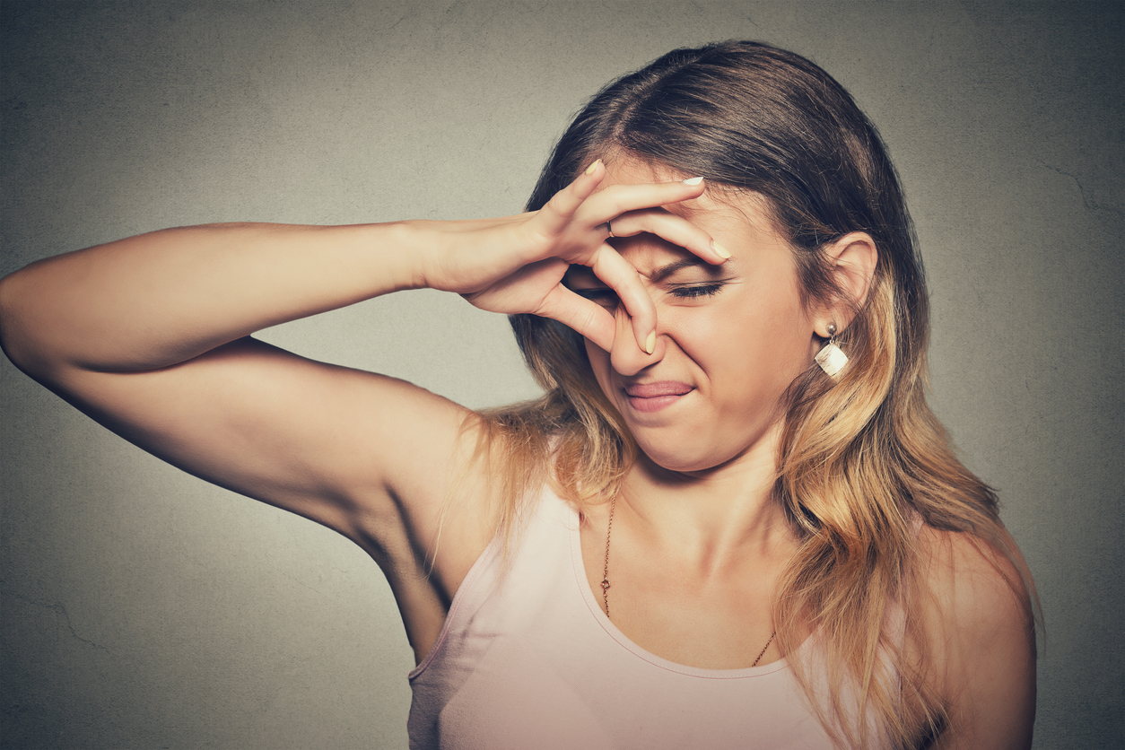 Woman Pinches Nose Looks With Disgust Stinks Bad Smell